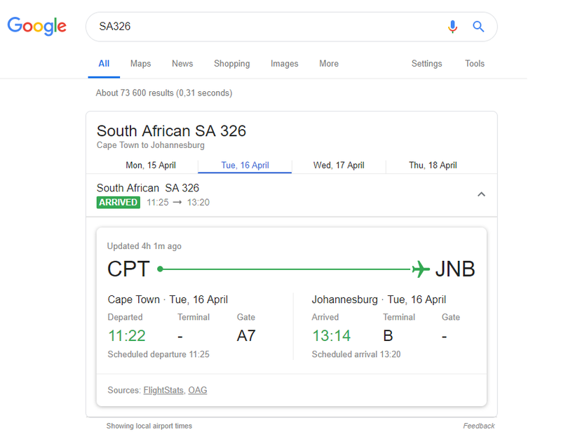 Stay up to date on your flight with Google Search