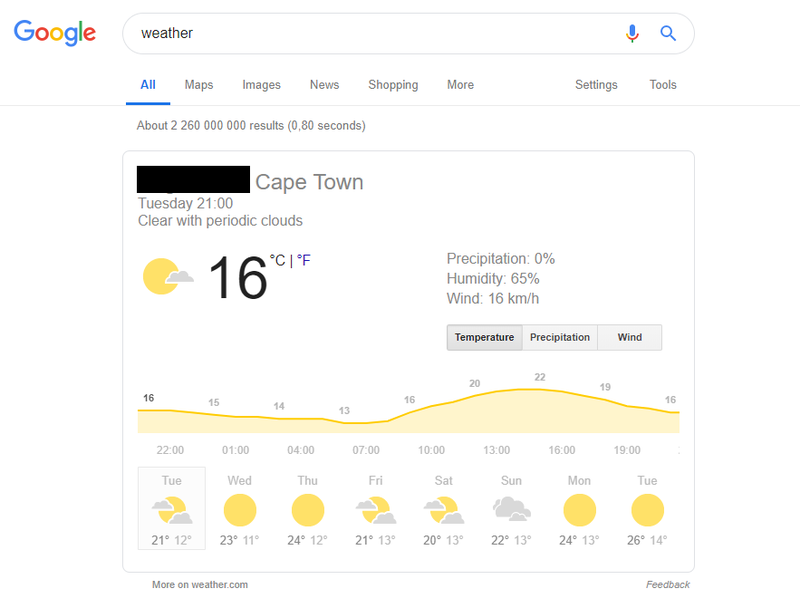 Check the weather using Google Search