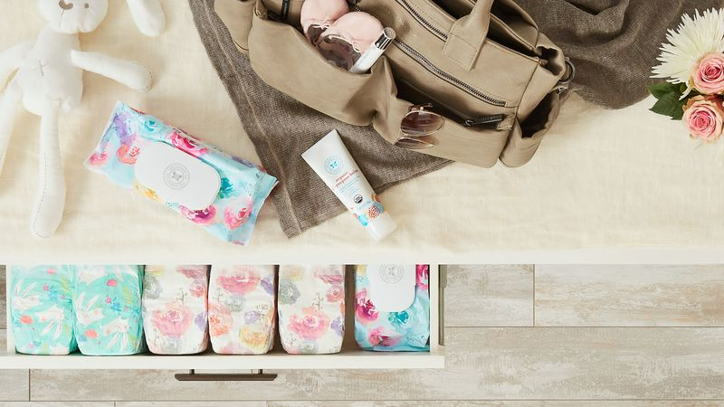 A baby bag should include nappies and baby cream