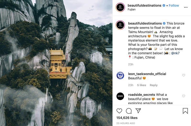 Follow Beautiful Destinations on Instagram